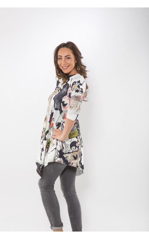Платье - туника с яркими рукавами