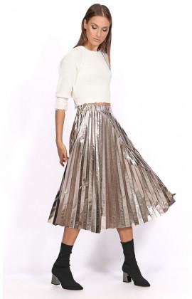 Эффектная серебряная юбка-плиссе