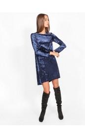 Темно-синее бархатное платье для гламурного образа