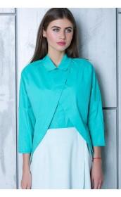 Эффектная блузка цвета аквамарин