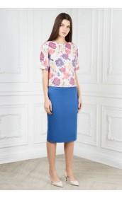 Блуза из жаккарда с цветным принтом