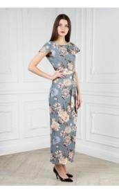 Длинное свободное платье с крылышком (цветы)