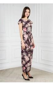 Платье длинное с крылышком (цветы)
