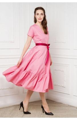 Платье на запахе с воланом
