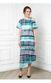 Платье с ассиметричным низом и рукавами крылышками
