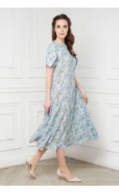 Платье широкое с рукавом колокольчик и комбинацией