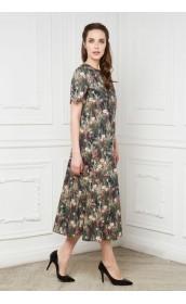 Платье широкое с рукавом колокольчик из хлопка
