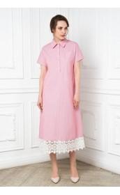 Платье-рубашка в полоску с кружевом