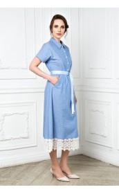Платье-рубашка длинное с кружевом
