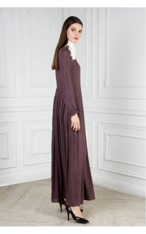 Платье длинное с юбкой в складку (мелкий принт)