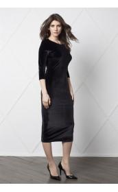 Платье футляр со срезами на спине (бархат)