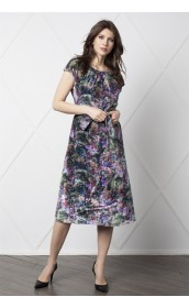 Платье прямое с коротким рукавом (бархат)