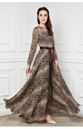 Платье длинное со вставкой и комбинацией