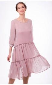 Розовое платье миди