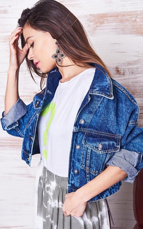 Куртка из джинсы синяя