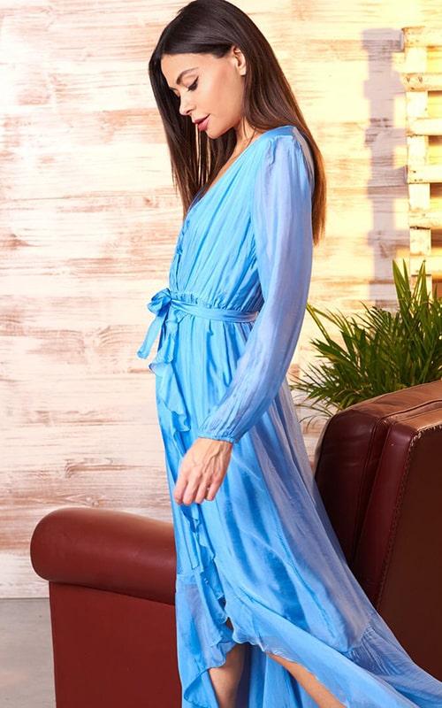 Платье голубое с запахом