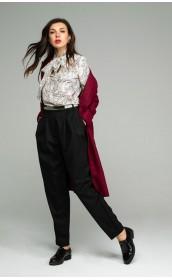 Блуза с бантом бежевый узор
