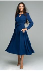Платье с шикарной юбкой в складку из шелковистой  ткани