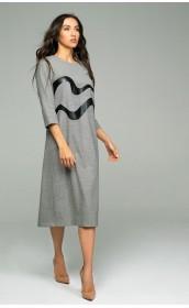 Платье из тонкой шерсти с волнистыми вставками из экокожи