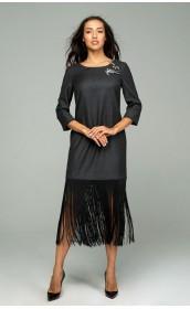 Платье коктейльное из тонкой мраморной шерсти с шелковистой бахромой