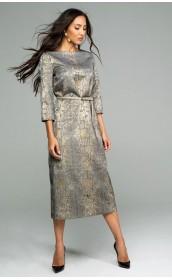 Серебристое платье с поясом