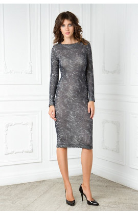 Платье серое вязаное с воротником лодочка