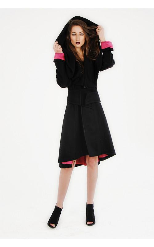 Пальто длинное с капюшоном - воротником IDSENS